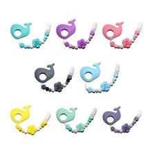 Happyfriends 1pcs Silicone Rose Beaded Whale Teether Pendant Baby Teething Chew Pacifier Chain Toy Jewelry Teethers