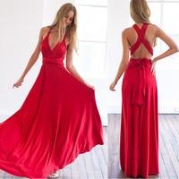 Sexy Party Dress Women Boho Maxi Club Dress Red Bandage Vestidos Bridesmaids Convertible Robe Femme Long