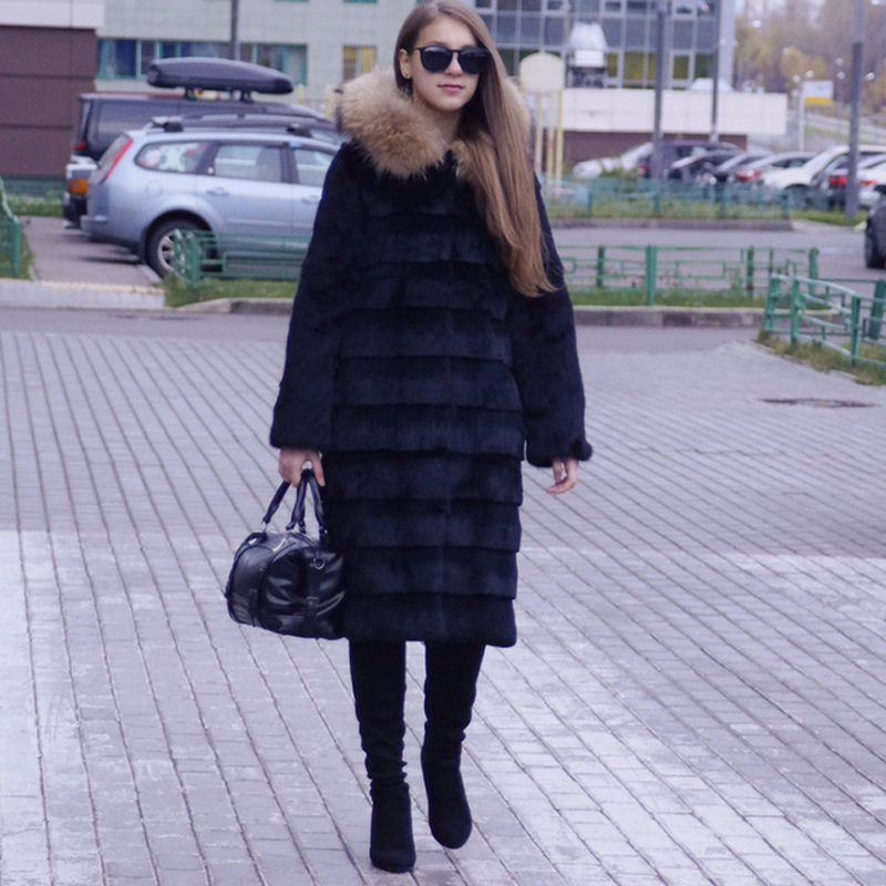 2019 Genuine Real Rabbit Fur Long Coat with striped Cut X Long Fur Hood Overcoat and