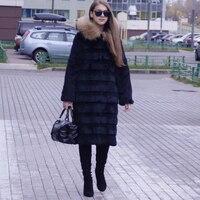 2019 Genuine Real Rabbit Fur Long Coat with striped Cut X Long Fur Hood Overcoat and Big Raccoon Fur Trim up hood sr342