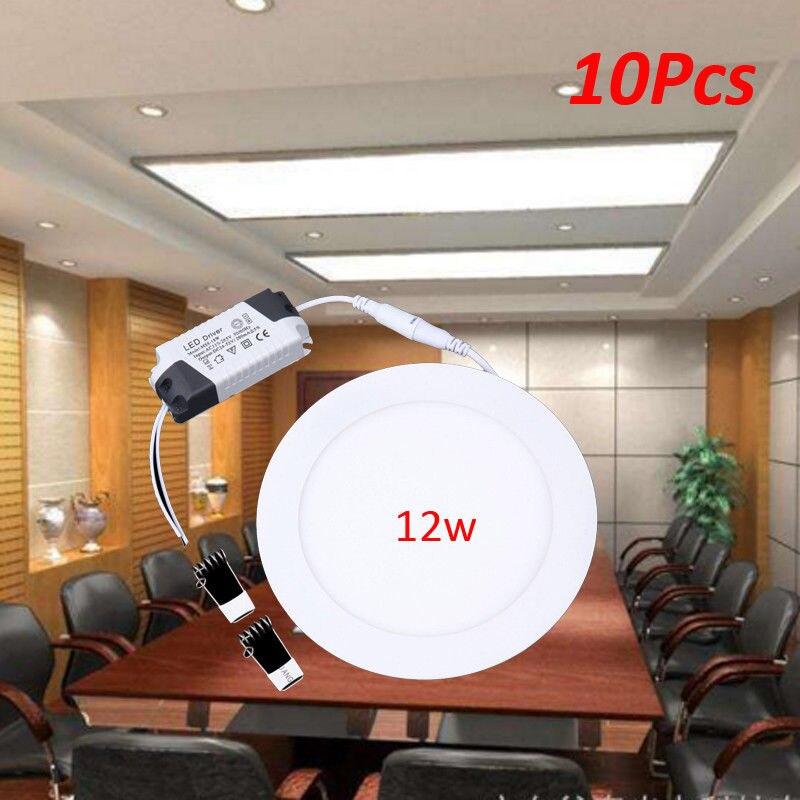 Envoi depuis l'ue! 10 pièces 12 W LED rond encastré plafond panneau plat vers le bas lumière Ultra mince blanc froid