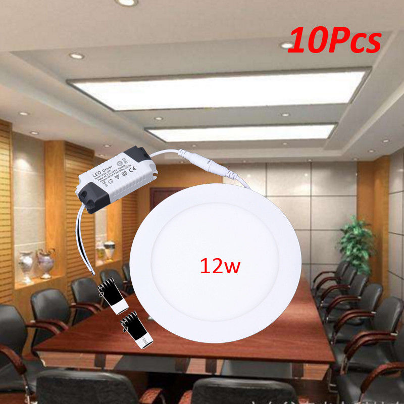 Ship from EU! 10pcs 12W LED Round Recessed Ceiling Flat Panel Down Light Ultra slim Cool White