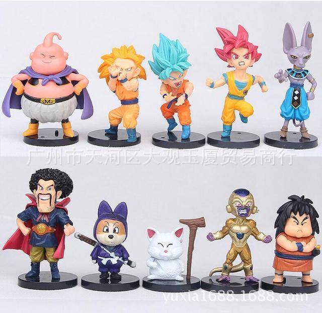 10 pcs Dragon Ball Z Goku Frieza Majin Buu Figura Anime Ação PVC Nova Coleção figuras de Coleta de brinquedos para o Natal presente