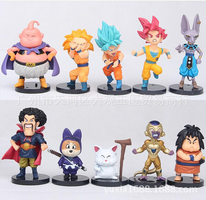 10pcs Dragon Ball Z Goku Frieza Majin Buu Anime Action Figure PVC New Collection figures toys Collection for Christmas gift new hot 17cm avengers thor action figure toys collection christmas gift doll with box j h a c g
