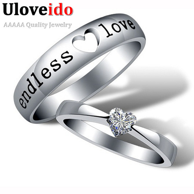 Gifts Wedding Rings Engagement Ring Jewelry Cz Diamond Crystal Silver Plated Set Bague