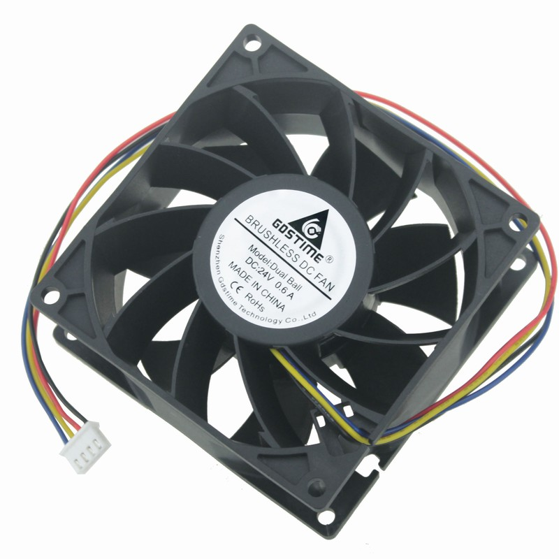 Gdstime 1 Piece DC 24V PC Case CPU Radiator 92x92mm Dual Ball Bearing Brushless Computer Cooling Fan 90mm x 38mm 4 Pin 9cm 9238 original delta afb0912shf 9032 9cm 12v 0 90a dual ball bearing cooling fan page 1