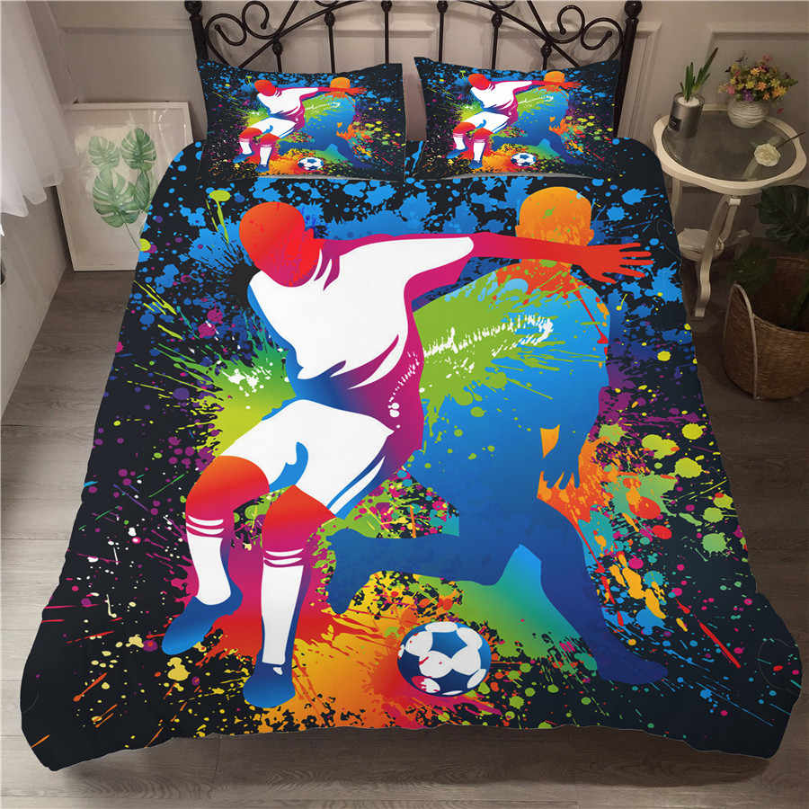 A Bedding Set 3D Printed Duvet Cover Bed Set Football Home Textiles for Adults Bedclothes with Pillowcase #ZQ09
