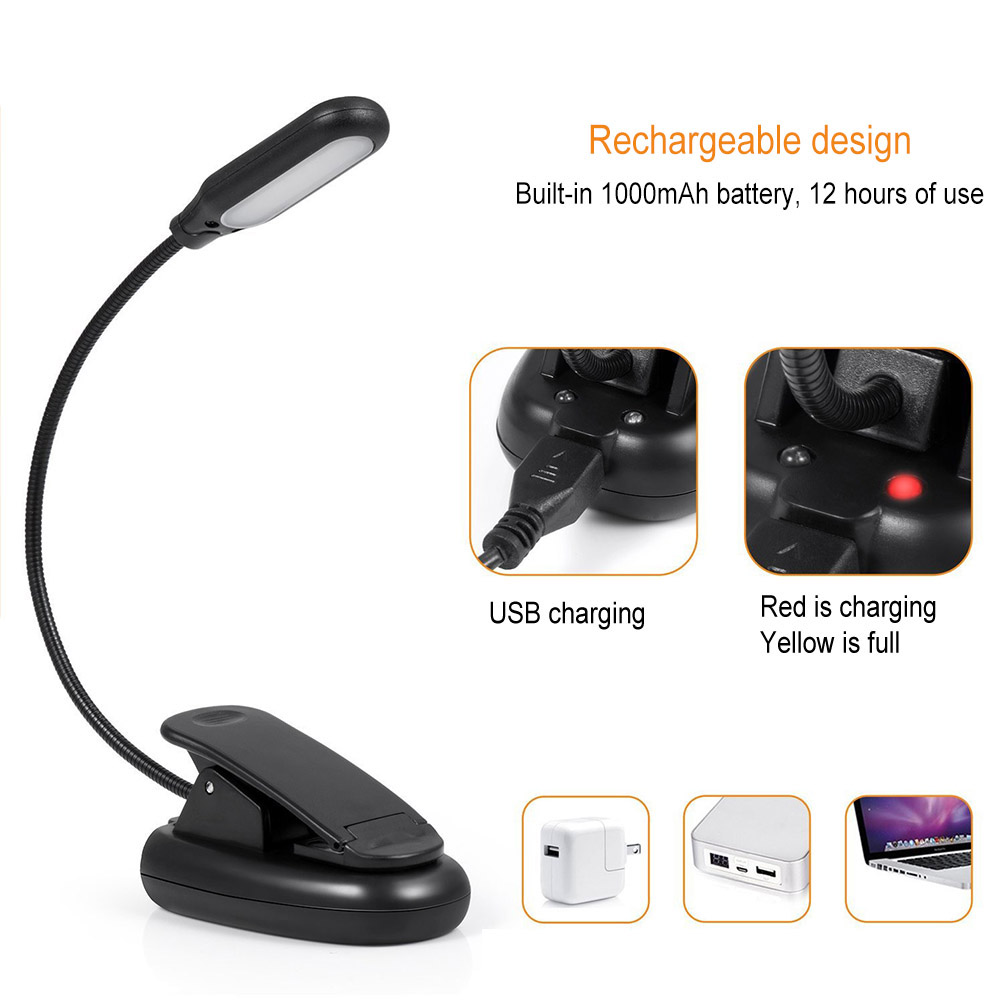 Clamp Clip On LED Reading Light Flexible Bedside Lamp Portable Battery/USB Rechargeable Book Lights WWO66