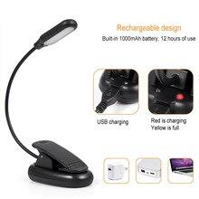 Clamp Clip On LED Reading Light Flexible Bedside Lamp Portab