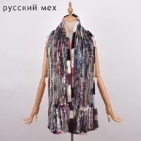 Long 180cm Women Knitted Mink Fur Scarf Hand Fur Muffler Luxury Real Mink Fur Neck Warmer Women Stole multicolor Fur Shawl