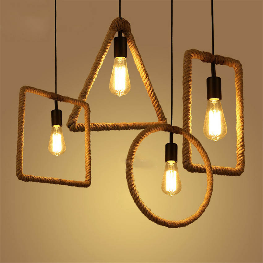 LFH American Style Geometric Hemp Rope Pendant Lights For Cafe Bar ...