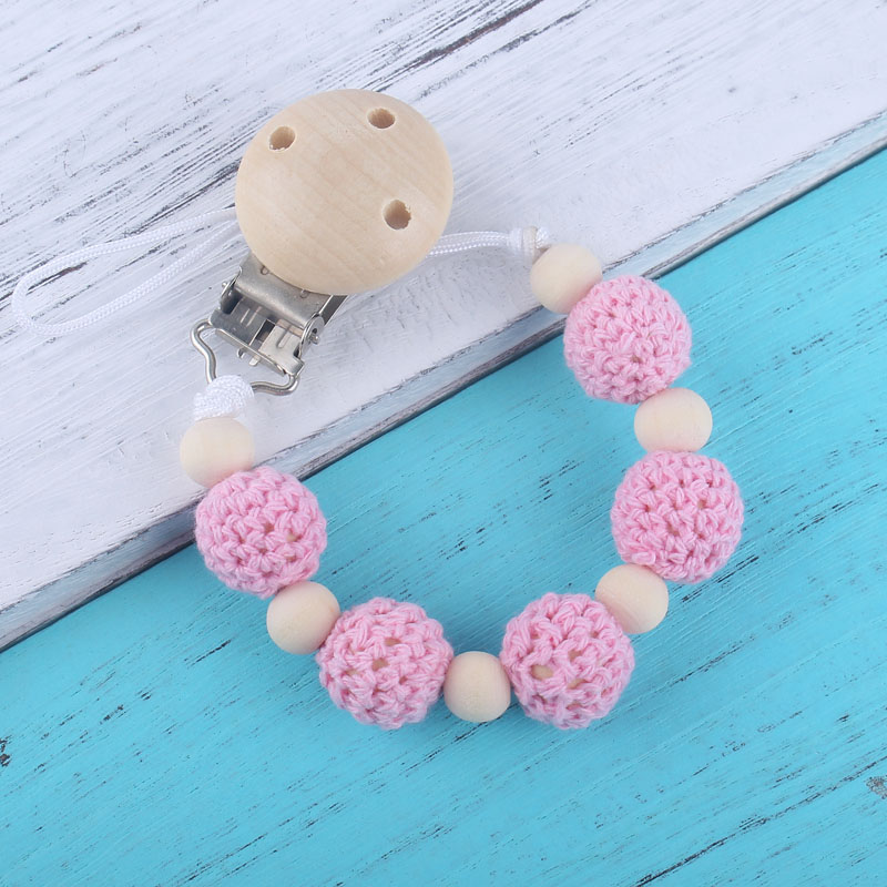Natural Wooden Beads Crochet Beads Teething Pacifier Holder Clip Nipple Strap Newborn Baby Pacifier Clips Chain For Dummy Feedin