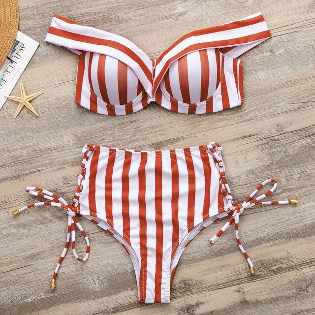3e25a3db5691ba Strój kąpielowy w paski kobiety Wysoka talia Bikini zestaw off ...