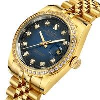 SANGDO Datejust 18 К желтого золота автоматические часы Для мужчин морской синий циферблат алмаз световой Водонепроницаемый календарь часы Relógio му