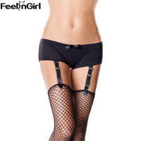 FeelinGirl Sexy Garter Panty Women Lingerie Black Shorts Liguero Stockings Suspender Belt Nightwear Garter Underwear E