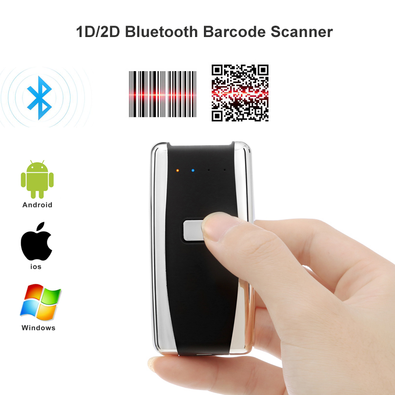 Mini Pocket Portable Wireless Barcode Scanner USB Bluetooth 1D Laser / 2D CCD Barcode Scanner For Android IOS Windows 2d wireless barcode area imaging scanner 2d wireless barcode gun for supermarket pos system and warehouse dhl express logistic