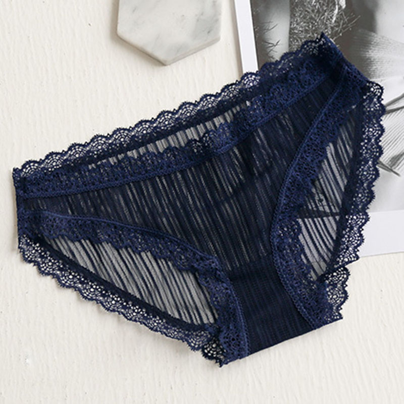 QA092 Thin mesh breathable lace hollow out women sexy transparent panties girls low waist briefs culotte femme