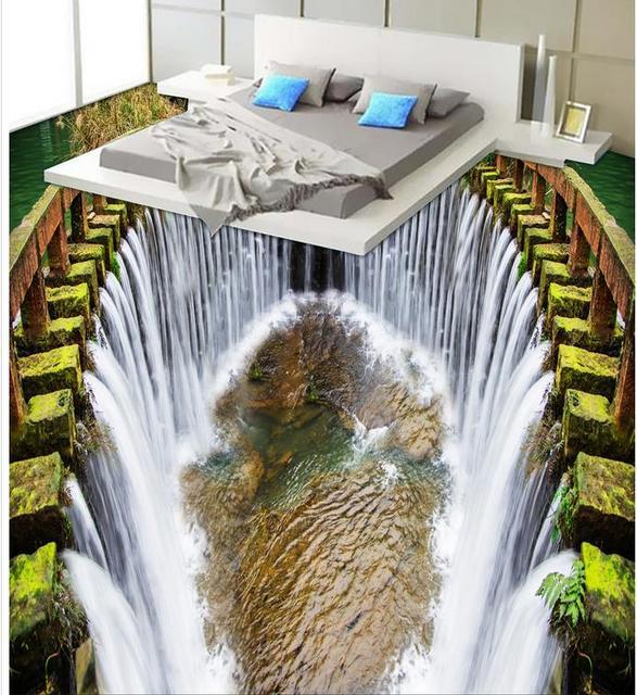 Buy 3d floor painting waterfall bathroom - Waterproof floor paint for bathrooms ...