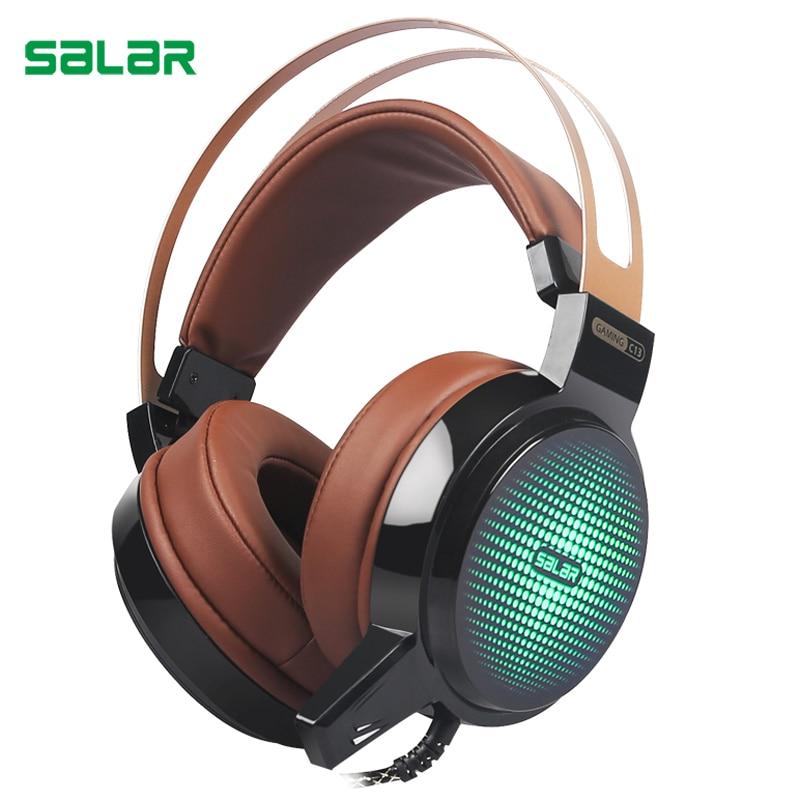 Salar C13 Проводная гарнитура глубокий бас Игры наушники компьютерные  наушники с микрофоном свет наушники для компьютера 20b4d7ea42547