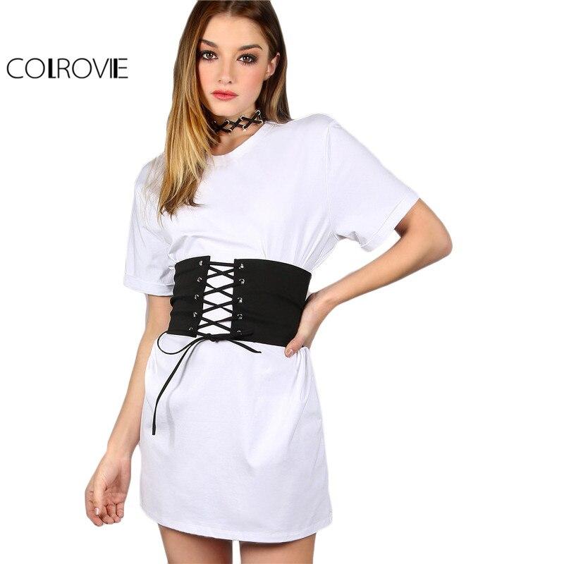 Colrovie con cinturón corsé dress mujeres blanco vintage de manga corta de veran