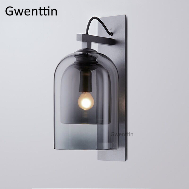 Modern Smoky Glass Wall Lamps Led Sconce Mirror Lights for Bedroom Bathroom Lamp Home Loft Industrial Decor Fixtures Luminaire