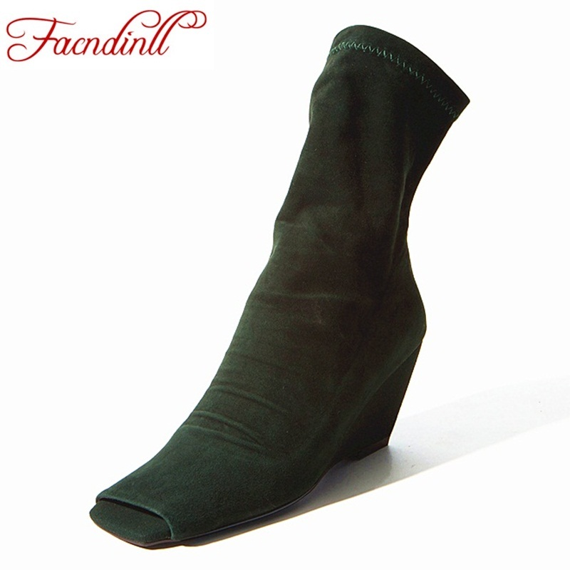 FACNDINLL spring autumn brand shoes women ankle boots fashion pleated dress high heels peep toe slip-on woman casual wedge boots 2018 new superstar flock runway peep toe slip on fashion brand shoes wedges autumn spring lazy zipper mid calf boots for women