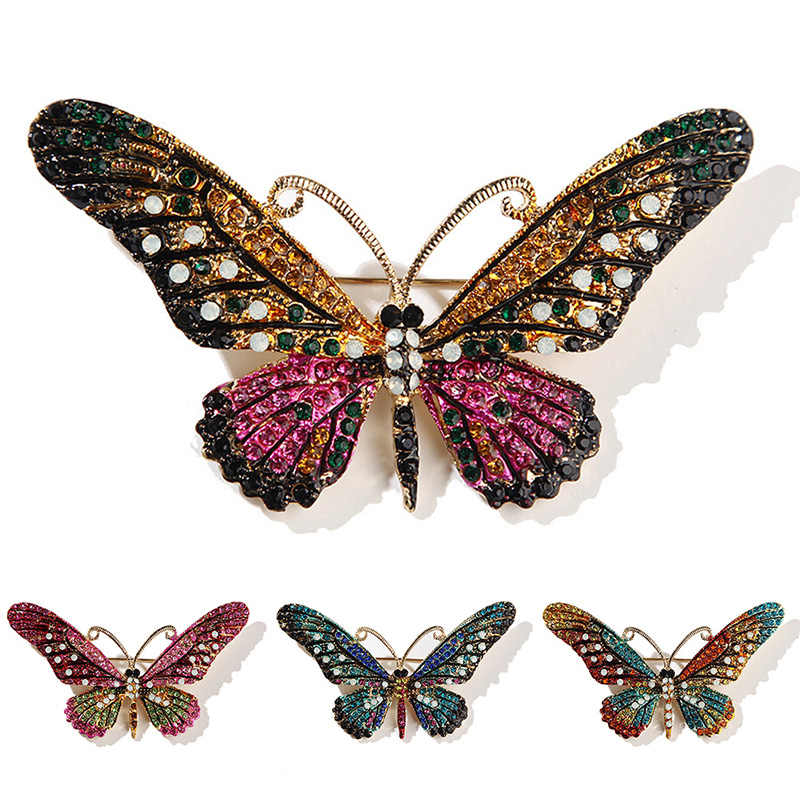 Shinny il Rhinestone Di Cristallo Insetto Farfalla Libellula Ragazza Spilli Cute Bee Animale Spille Per Il Vestito Della Sciarpa Delle Donne Del Partito Dei Monili Regalo