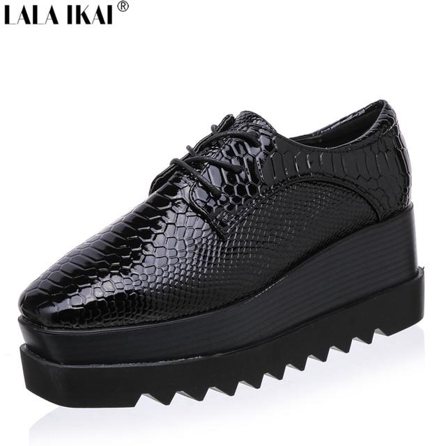 a6d60e78aac1 Plate-forme Oxford Chaussures pour Femmes En Cuir Verni Serpent Bout Carré 2016  New Lace