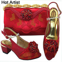Hot Artist African Shoes And Bags To Match Set High Quality Womwn Shoes And Bag Sets