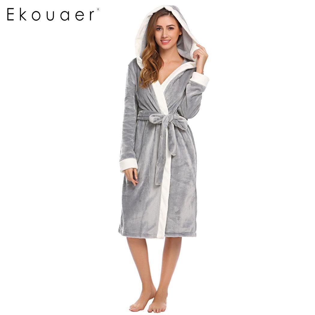 Ekouaer Hooded Long Kimono Robes Sleepwear Women Soft Plush Long Sleeve  Bathrobe Sleep Robe Dressing Gown eefa94363