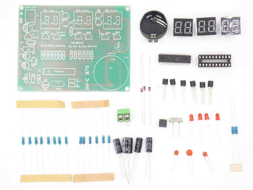 DIY Kits AT89C2051 Electronic Clock Digital Tube LED Display Suite  Electronic Module Parts And Components DC