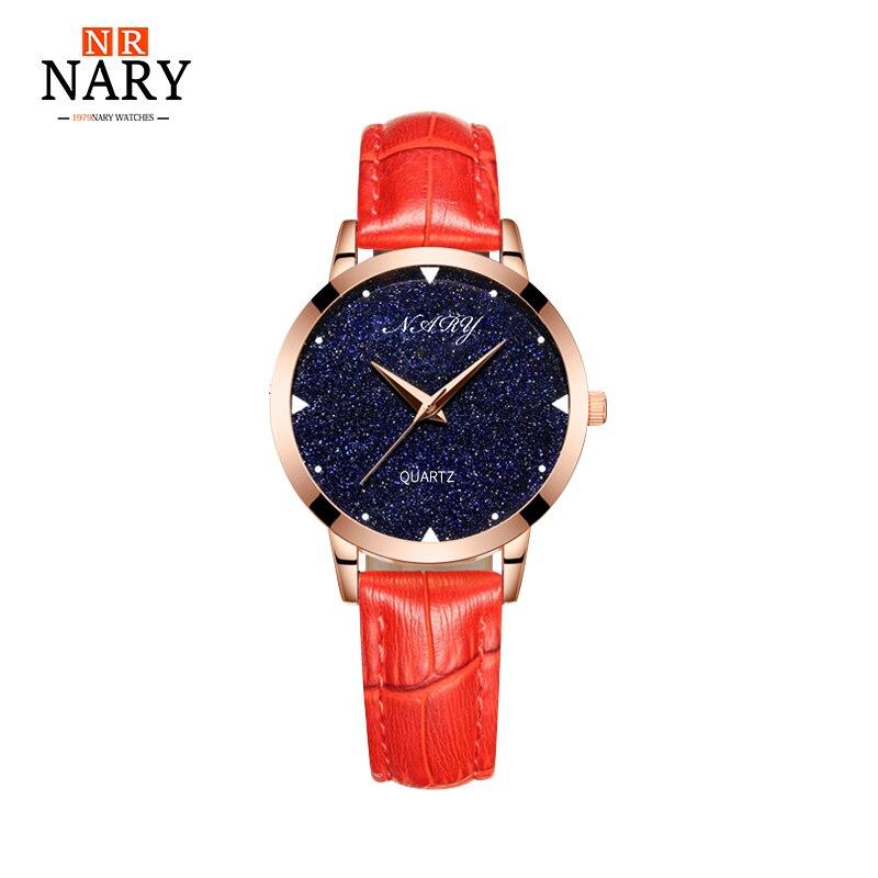 2017 NARY Fashion Star Dial Women Watches Luxury Golden Leather Ladies Watch Women Dress Clock Gold relogio feminino Gift box
