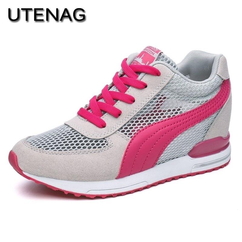 Для женщин кроссовки 2018 Высота Увеличение летняя Обувь с дышащей сеткой модные повседневная обувь для взрослых на шнуровке удобные для взр...