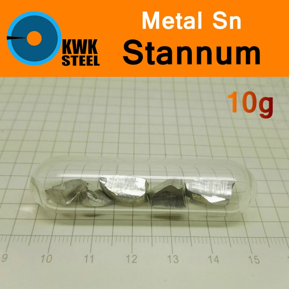 Sn Stannum Bulk Glass Seal 10g Pure 99.99% Periodic Table of Metal Elements for DIY Research Study School Education Collection