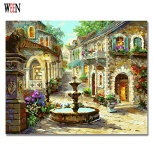 WEEN Street Corner Oil Pictures By Numbers Abstract DIY Hand Painted Wall Painting For Living Room Coloring By Numbers