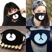 2019 New Mask Windproof Unisex Anti-Dust Cotton Mouth Face Mask Women&Men Black Cute Bear Print Fashion Half Face Mask Soft(China)