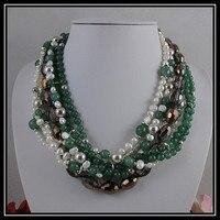 Уникальный жемчуг ювелирный магазин, 7row зеленый нефрит кристалл барокко белый пресноводный жемчуг цепочки и ожерелья, идеальный для женщи