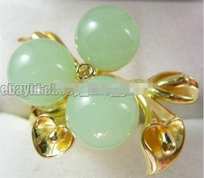จัดส่งฟรี0064สีเหลืองแผ่นทองแหวนหยกสีเขียว