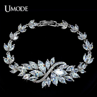 UMODE Brand Bracelet Femme Top Quality Marquise Cut AAA CZ Diamond Jewelry Platinum Plated Charm Bracelets