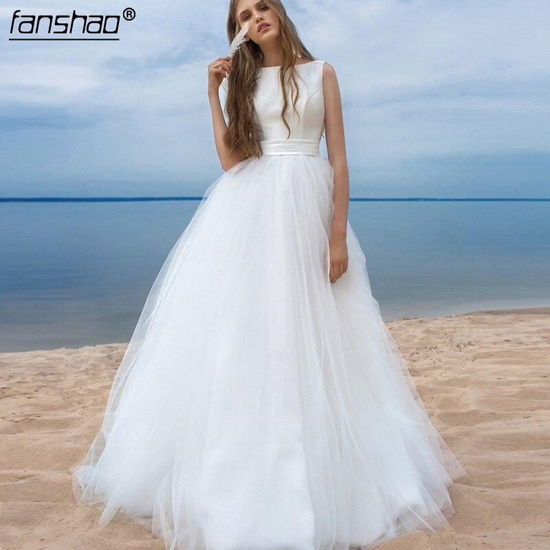 Cheap Muslim Wedding Dresses Simple Scalloped Sash Bow Tulle Robe De Mariage Dubai Arabic Boho Wedding Dress Bridal Dress