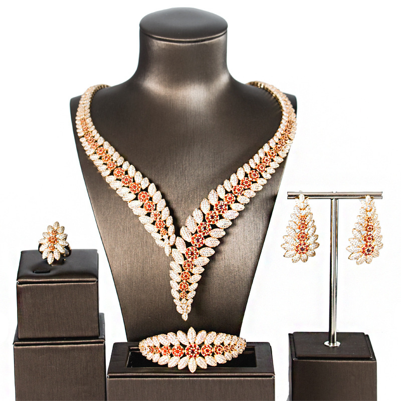 Flower Boom Women Wedding Bride Cubic Zirconia Necklace Earring Dubai Jewelry Set Jewellery AddictionFlower Boom Women Wedding Bride Cubic Zirconia Necklace Earring Dubai Jewelry Set Jewellery Addiction