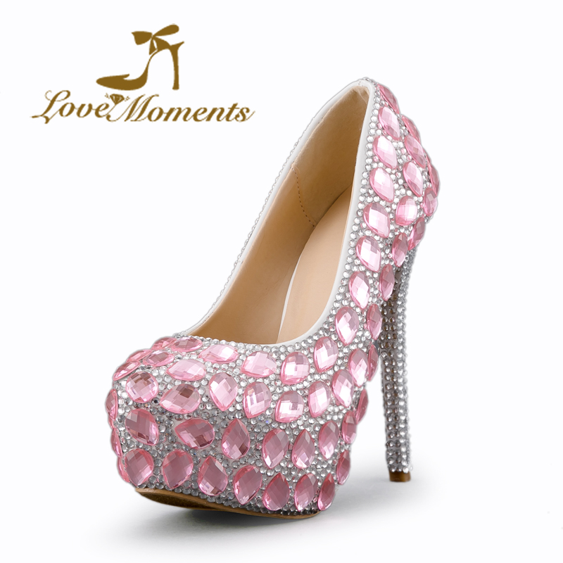 Love Moments high heels pink rhinestone silver crystal Bridal font b shoes b font ladies Wedding