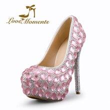 Momentos de amor sapatos de salto alto rosa rhinestone de cristal de prata sapatos de Noiva sapatos de Casamento das senhoras vestido de Festa banquete festival das Mulheres Sapatos