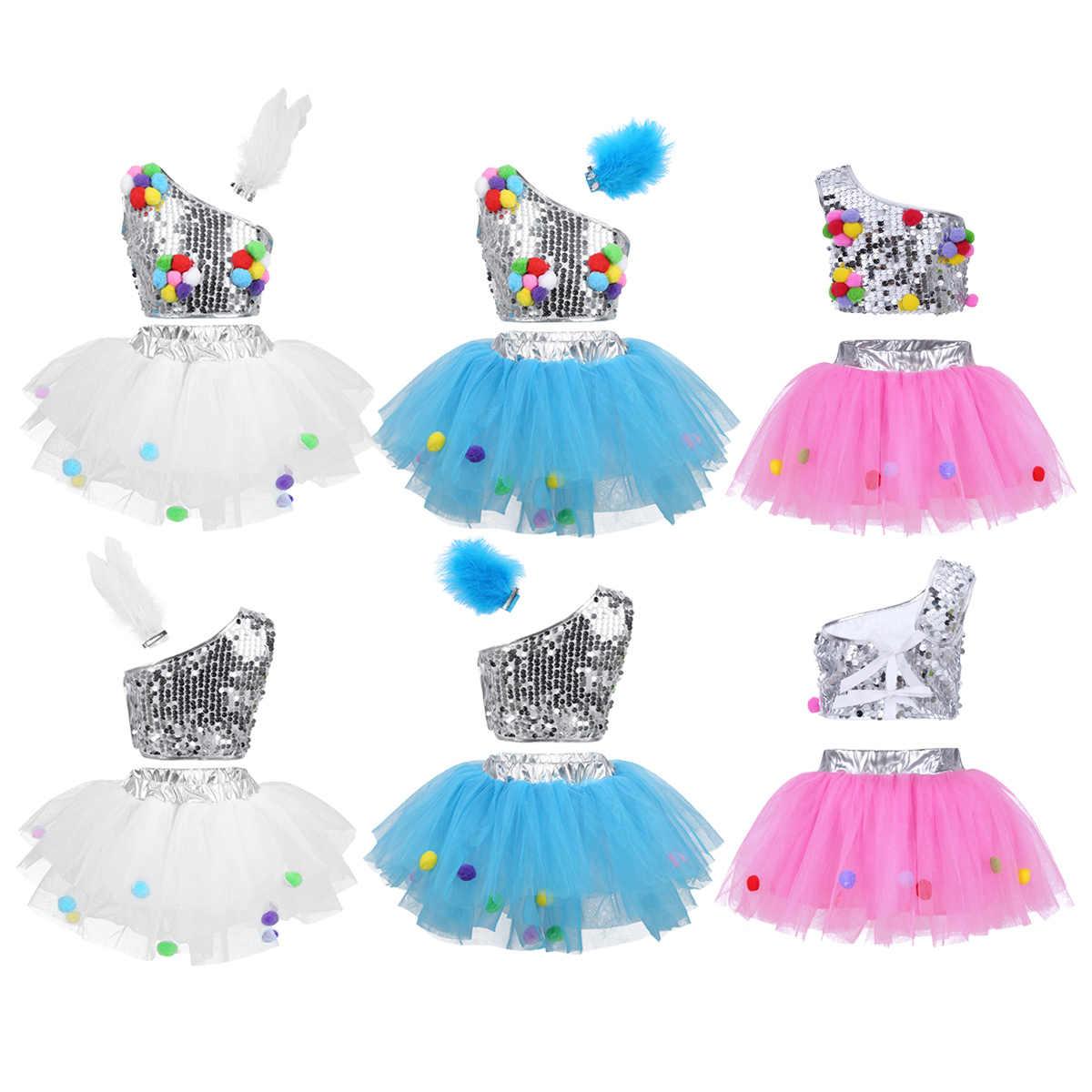 IIXPIN девушки Джаз платье для танцев наряд одно плечо блестками укороченный топ с сеткой юбка-пачка зажим для волос для джаз балетные балетный зал для танцев