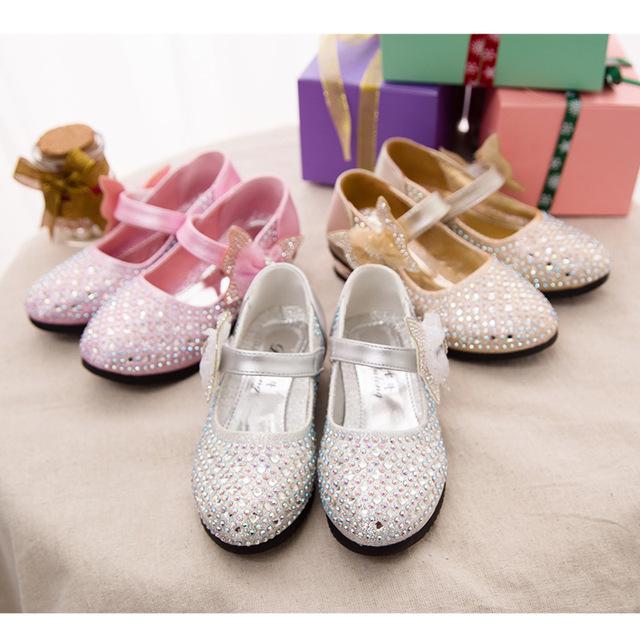 2017 chegada nova bowknot princesa crianças pu shoes cristal decorado crianças shoes meninas shoes 3 cores frete grátis