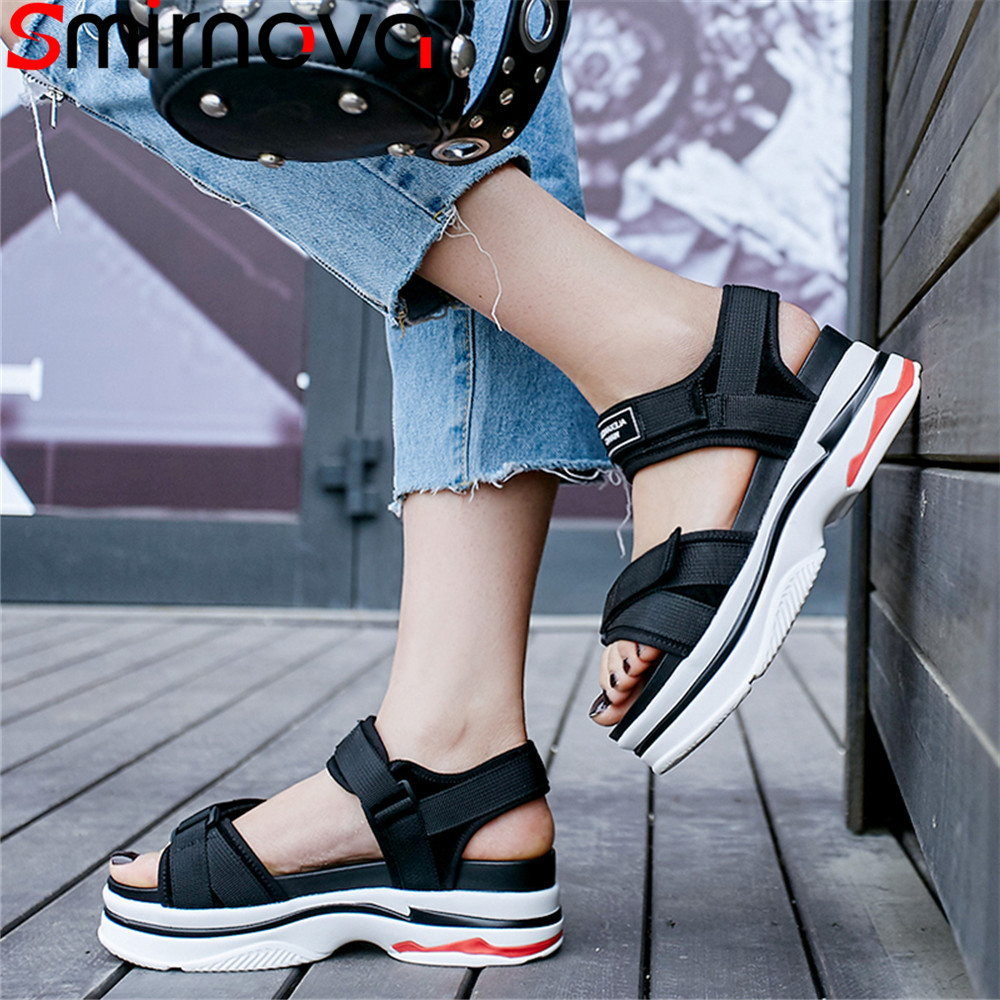 Smirnova black fashion summer new shoes woman casual comfortable sandals women sneaker style suede leather shoes flat platform 2017 fashion red black white men new fashion casual flat sneaker shoes leather breathable men lightweight comfortable ee 20