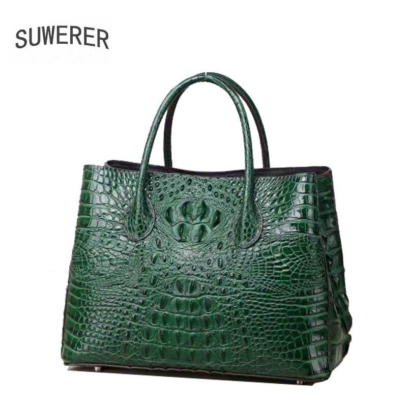 SUWERER 2018 новый топ из воловьей кожи для женщин сумки из натуральной модные Роскошные крокодил узор tote schoudertas dames