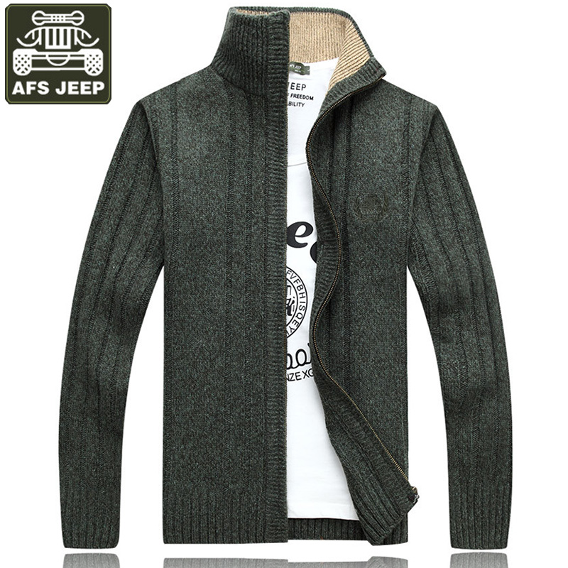 AFS JEEP Brand Clothing Cardigan Men s Sweater Standard Wool Sweater Pull Homme Thick Warm Sweater