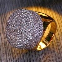 JOYA GIFT Fashion Luxury Brand Men Wedding Rings Charm Gold Micro inlaid Zircon Copper Hip Hop Head Ring for Women Jewelry