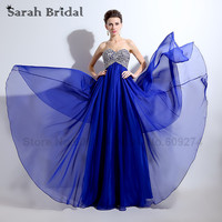 Royal Blue Chiffon Prom Dresses Long A Line Sliver Embroidery Party Gowns With Beading Crystal Vestidos